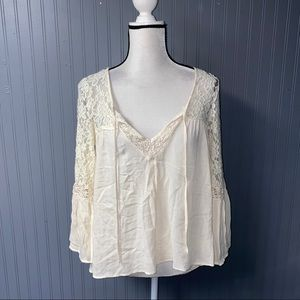 Women's American eagle lace peasant top small